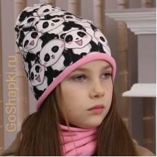 """Шапка демисезонная с флисовой подкладкой """"Панды-Розовый флис"""""""