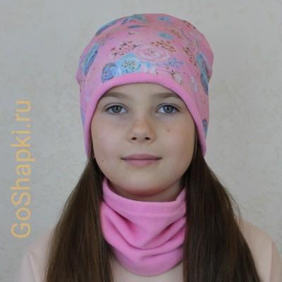 """Шапка демисезонная с флисовой подкладкой """"Цветочки на нежно-розовом-Розовый флис"""""""