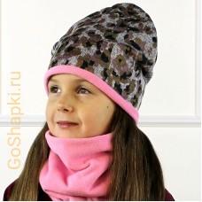 """Шапка демисезонная из вязаного полотна с флисовой подкладкой """"Розовый леопард-Розовый флис"""""""
