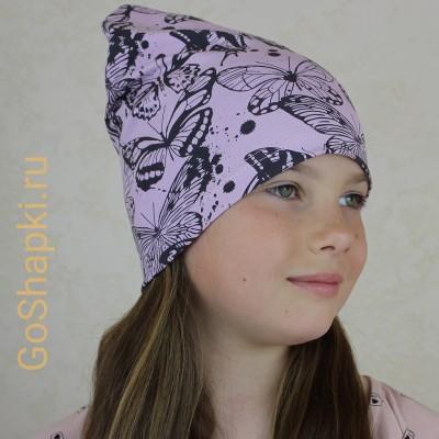 "Летняя шапка ""Бабочки на розовом"""