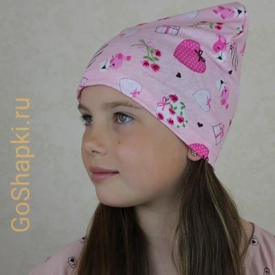 "Летняя шапка ""Сердечки на розовом"""