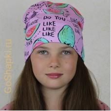 """Летняя шапка """"Арбузы на розовом"""""""