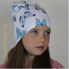 """Летняя шапка """"Бабочки на белом"""""""