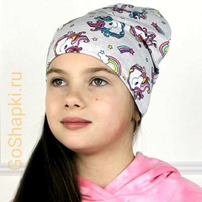 "Летняя шапка ""Единороги на меланже"""