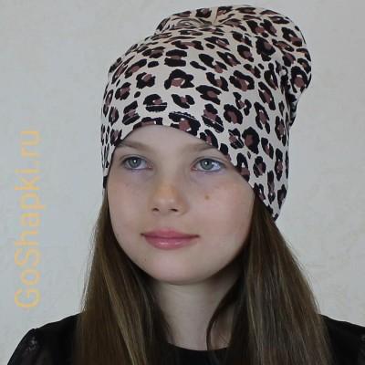 "Летняя шапка ""Леопард на бежевом"""