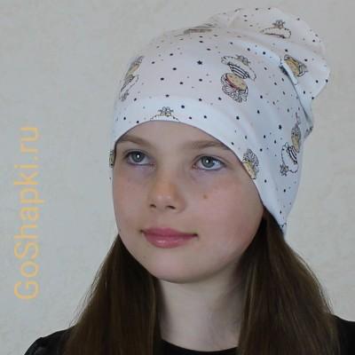 """Летняя шапка """"Девочки на белом"""""""