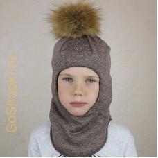 """Шлем зимний утепленный из вязаного полотна с хлопковой подкладкой и помпоном """"Коричневый"""""""