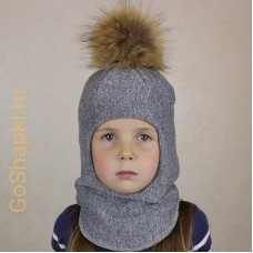 """Шлем зимний утепленный из вязаного полотна с хлопковой подкладкой и помпоном """"Серый"""""""