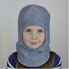 """Шлем зимний утепленный из вязаного полотна с хлопковой подкладкой """"Серый"""""""
