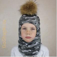 """Шлем зимний утепленный из вязаного полотна с хлопковой подкладкой и помпоном """"Камуфляж серый"""""""