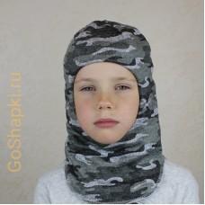 """Шлем зимний утепленный из вязаного полотна с хлопковой подкладкой """"Камуфляж серый"""""""