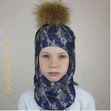 """Шлем зимний утепленный из вязаного полотна с хлопковой подкладкой и помпоном """"Камуфляж синий"""""""