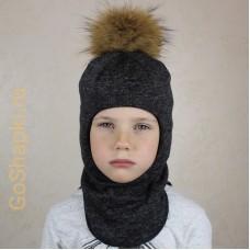 """Шлем зимний утепленный из вязаного полотна с хлопковой подкладкой и помпоном """"Черный"""""""