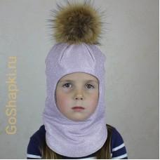 """Шлем зимний утепленный из вязаного полотна с хлопковой подкладкой и помпоном """"Пыльная роза люрекс"""""""