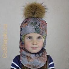 """Шлем зимний утепленный из вязаного полотна с хлопковой подкладкой и помпоном """"Осенние цветы"""""""