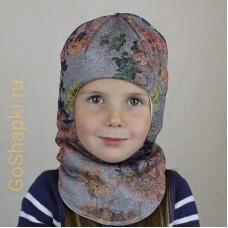 """Шлем зимний утепленный из вязаного полотна с хлопковой подкладкой """"Осенние цветы"""""""