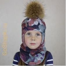 """Шлем зимний утепленный из вязаного полотна с хлопковой подкладкой и помпоном """"Цветы"""""""
