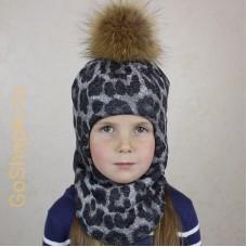 """Шлем зимний утепленный из вязаного полотна с хлопковой подкладкой и помпоном """"Леопард"""""""