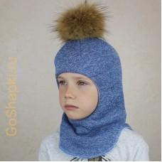 """Шлем зимний утепленный из вязаного полотна с хлопковой подкладкой и помпоном """"Голубой"""""""