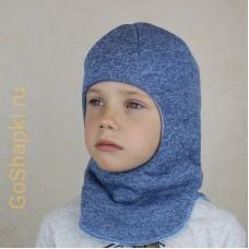 """Шлем зимний утепленный из вязаного полотна с хлопковой подкладкой """"Голубой"""""""