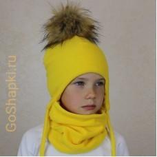 """Шапка зимняя флисовая утепленная на завязках с помпоном """"Желтый"""""""