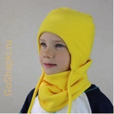 """Шапка зимняя флисовая утепленная на завязках """"Желтый"""""""