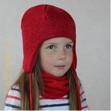 """Шапка зимняя утепленная из вязанного полотна с хлопковой подкладкой на завязках """"Красный люрекс"""""""