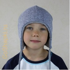 """Шапка зимняя утепленная из вязанного полотна с хлопковой подкладкой на завязках """"Серая"""""""